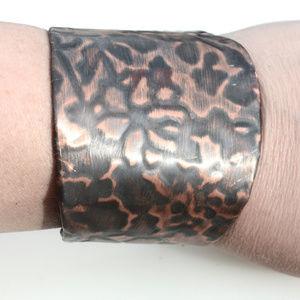 Poinsettia Flower Cuff Bracelet Copper Christmas